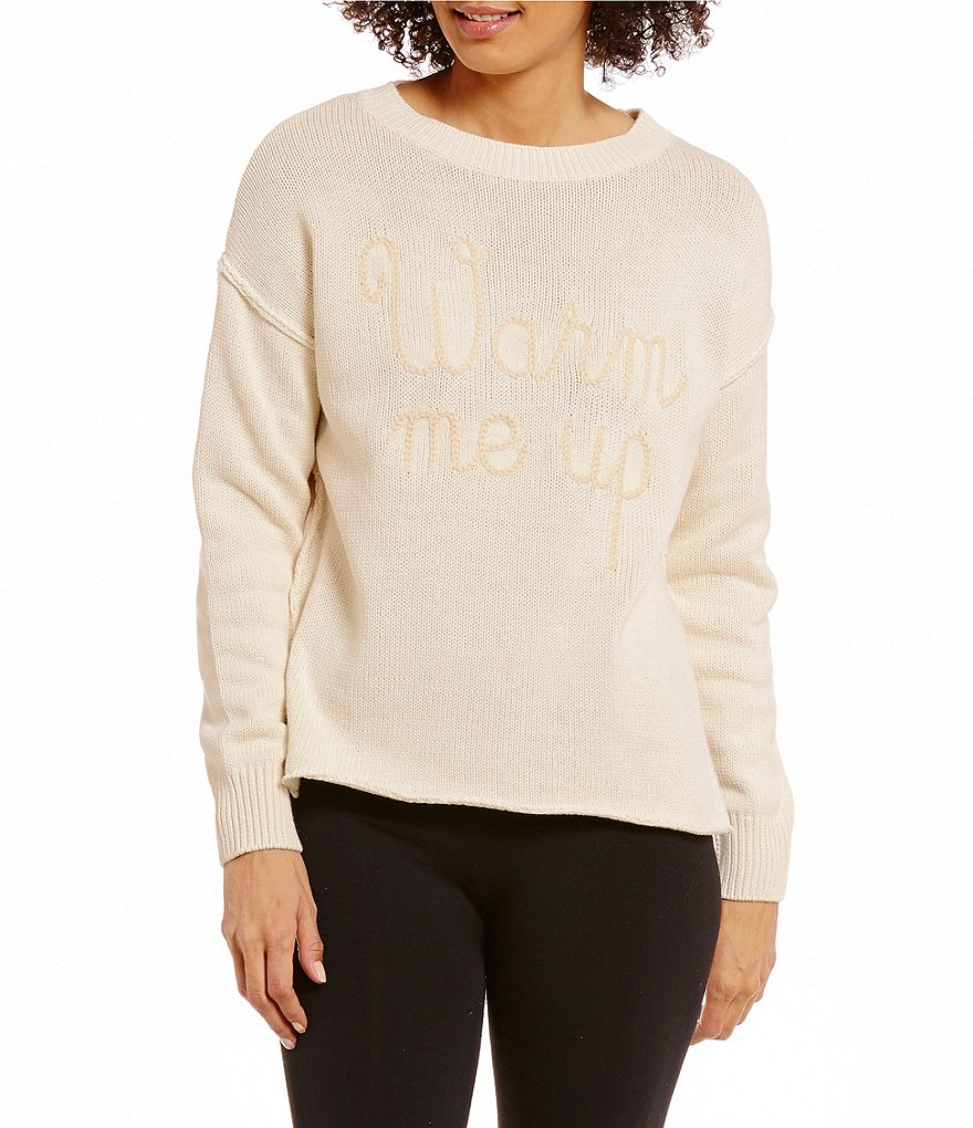 Jasmine & Ginger Warm Me Up Embroidered Sweater-Knit Lounge Top