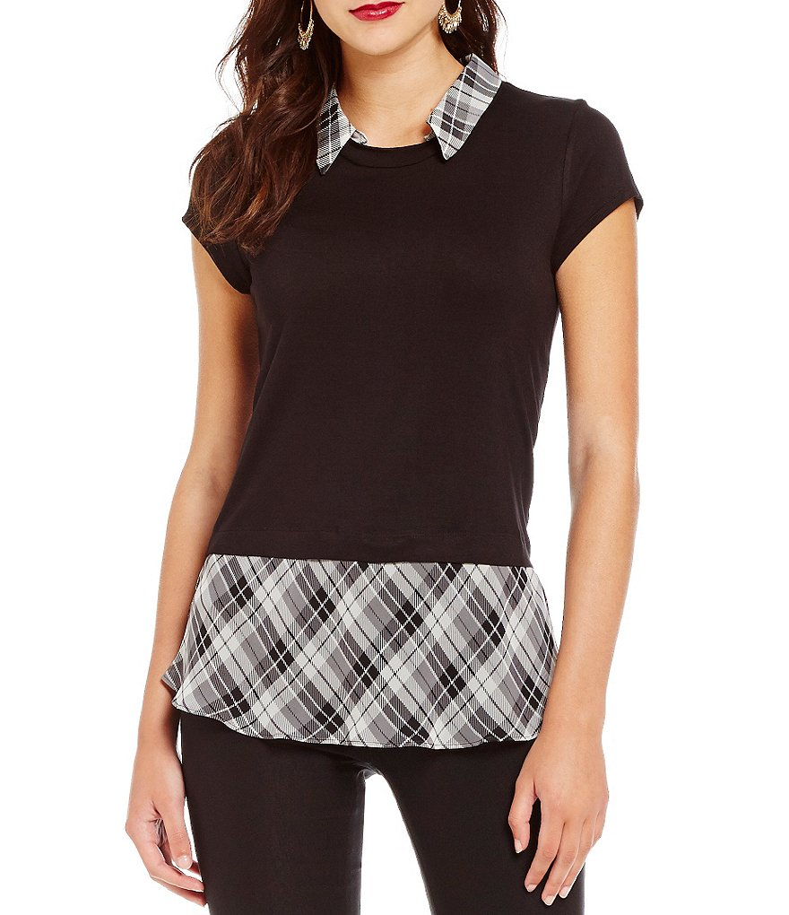 I.N. San Francisco Plaid Hem Two-Fer Top