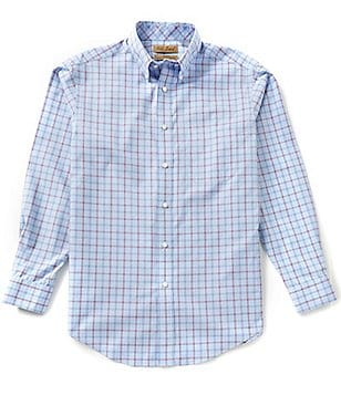 Gold Label Roundtree & Yorke Perfect Performance Non-Iron Long-Sleeve Windowpane Sportshirt