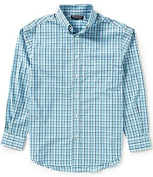 Roundtree & Yorke Silky Finish Long-Sleeve Multi Check Sportshirt