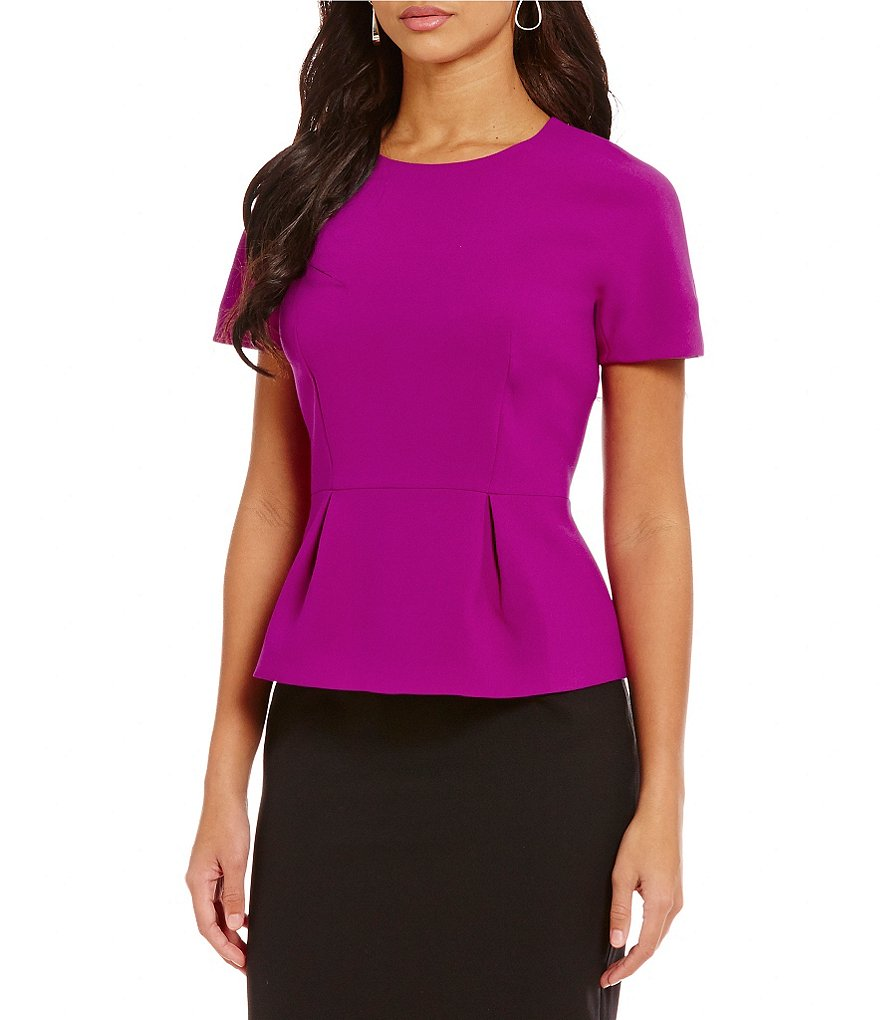 Ellen Tracy Stretch Crepe Peplum Top
