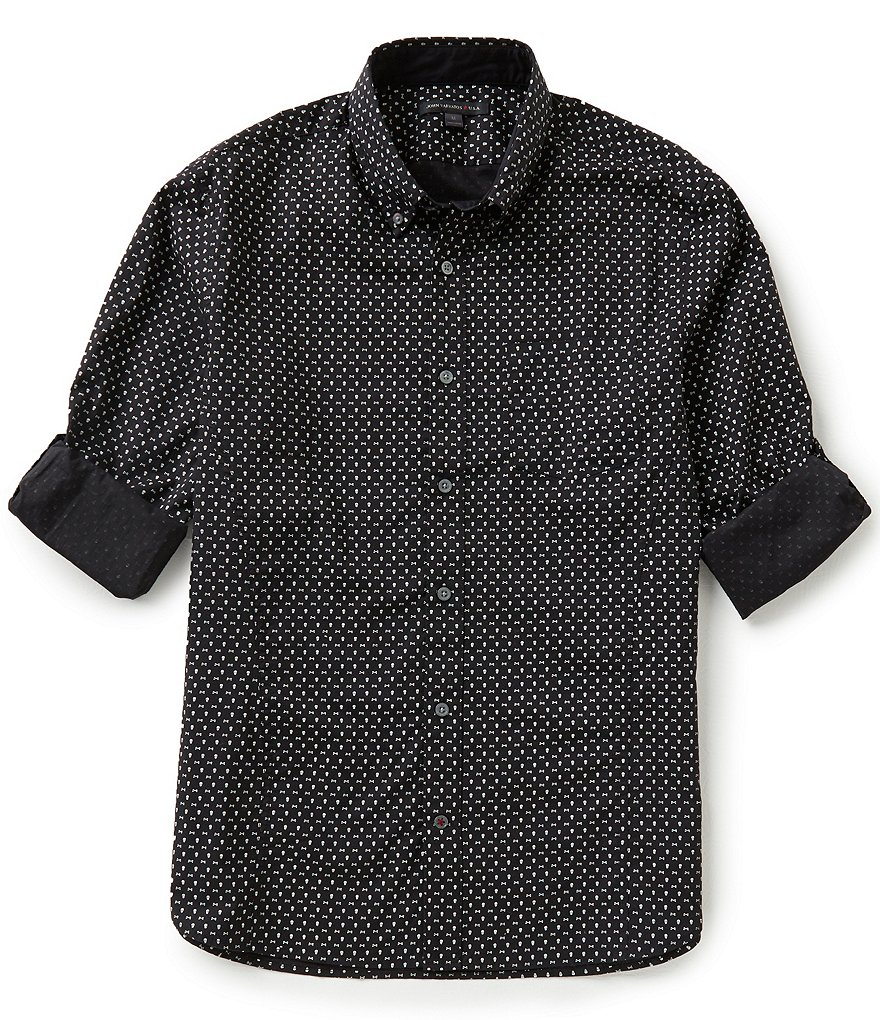 John Varvatos Star USA Mini Skull Repeating Print Slim-Fit Long-Sleeve Woven Shirt