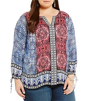 Lucky Brand Plus Long Sleeve Border Print Peasant Top