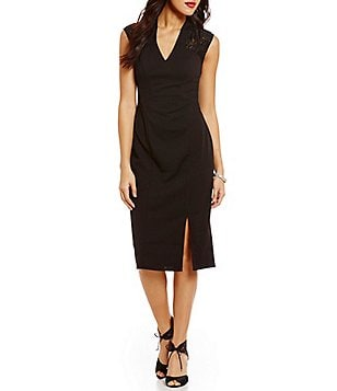 London Times Lace Back Scuba Crepe Midi Dress