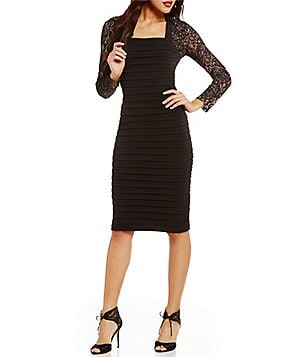 London Times Square Neck Lace Back Solid Sheath Dress