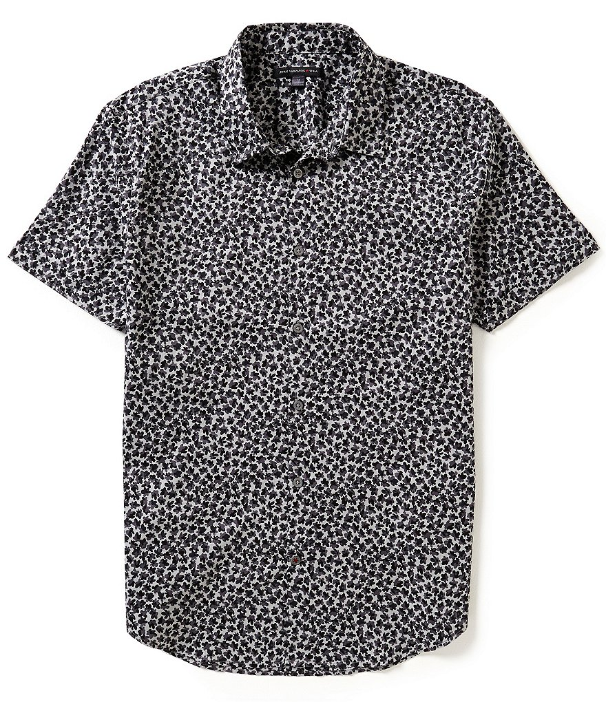 John Varvatos Star USA Abstract Camo Short-Sleeve Woven Shirt