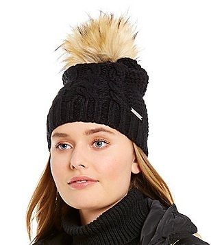 Michael Kors Cable-Knit Beanie with Faux-Fur Pom