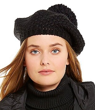 Michael Kors Tuck-Stitched Beret with Pom