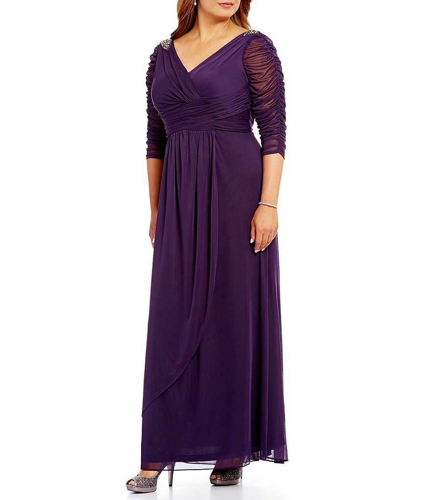 Adrianna Papell Plus 3/4 Sleeve Beaded Faux-Wrap Gown