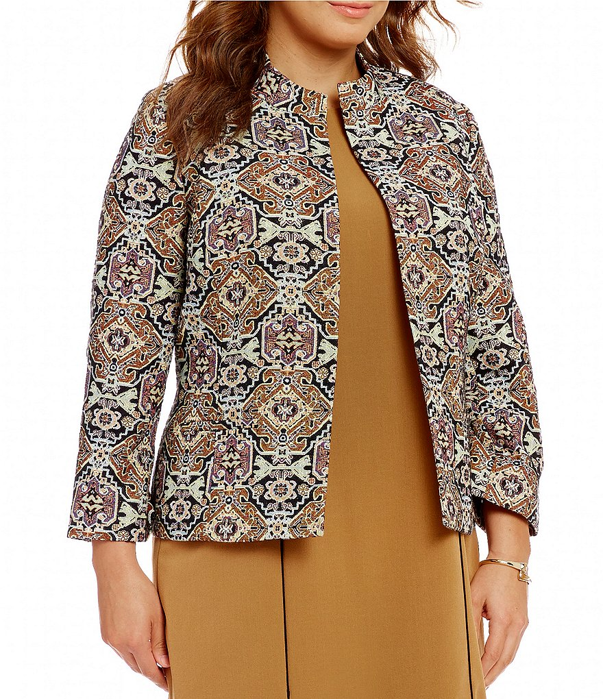 Kasper Plus Metallic Jacquard Jacket