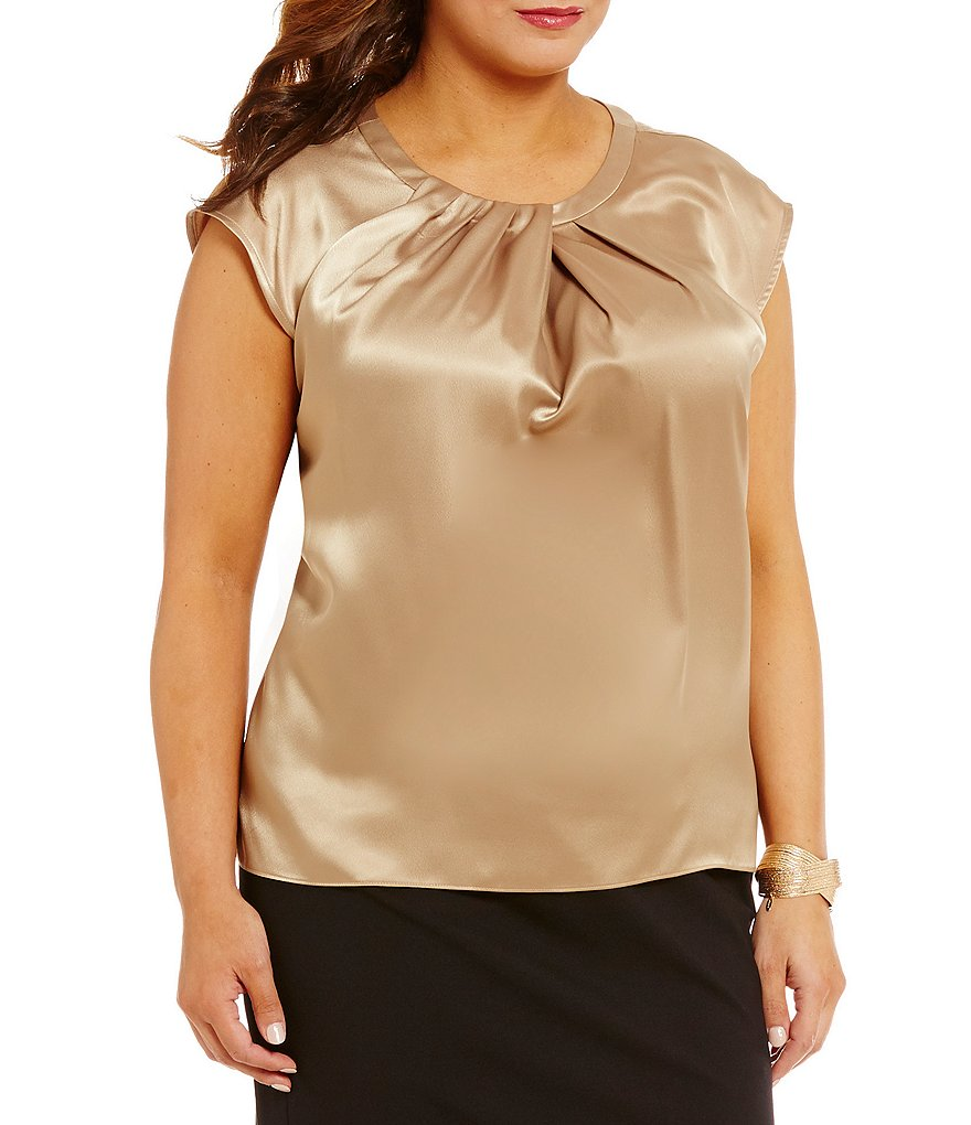 Kasper Plus Cap-Sleeve Pleated-Neck Blouse