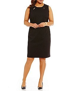 Kasper Plus Solid Sleeveless Stretch Ponte Sheath Dress Image