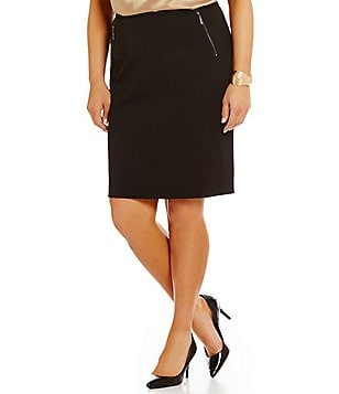 Kasper Plus Zipper-Detail Solid Pencil Skirt