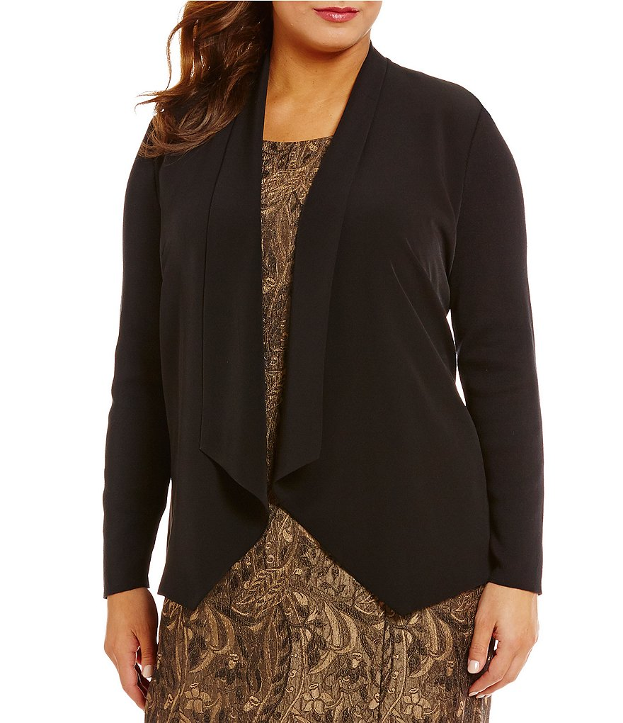 Kasper Plus Mixed Media Draped Open Neck Jacket