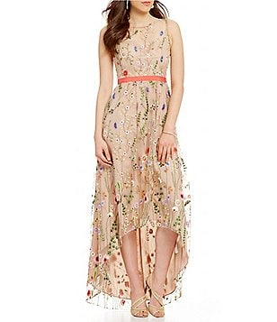 Adrianna Papell Sleeveless Embroidered Tulle High-Low Gown