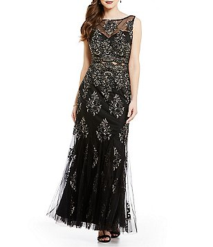 Cachet Lace Round Neck Sleeveless Illusion Mid Section Mermaid Gown