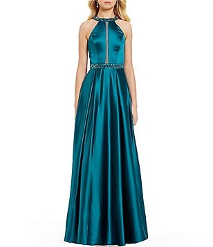 Cachet Halter Neck Sleeveless Beaded Satin Ballgown
