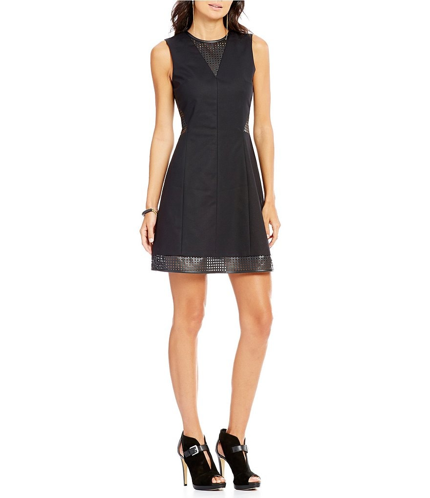 Armani Exchange Faux Leather Trim Sleeveless Fit-and-Flare Dress