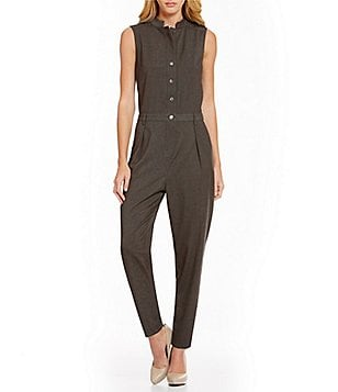 Armani Exchange Sleeveless Button-Front Jumpsuit