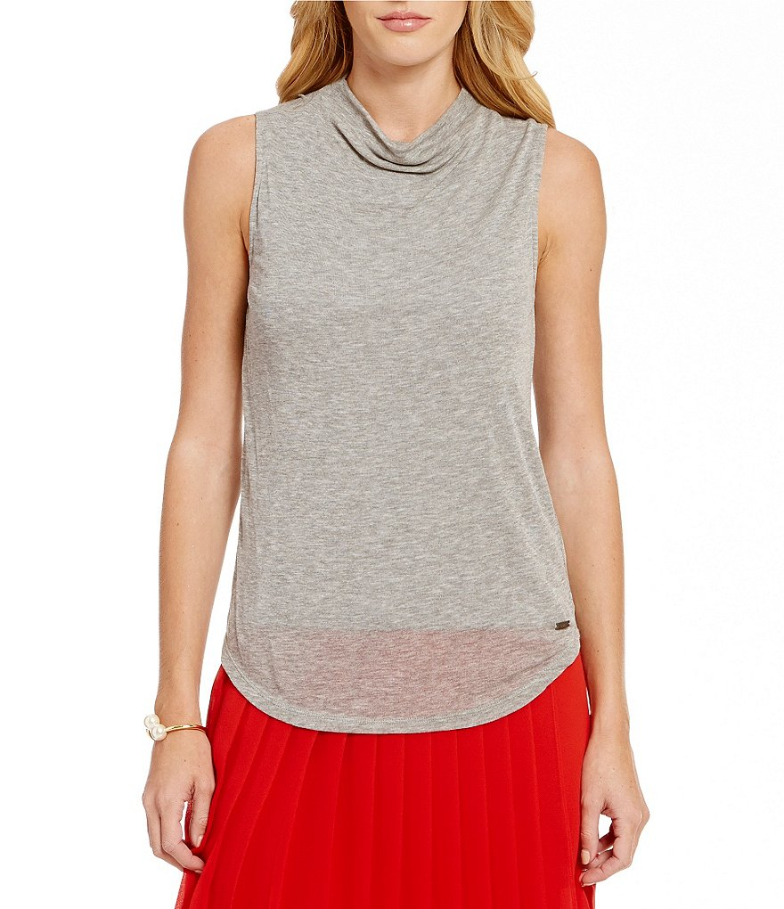 Armani Exchange Mock Neck Sleeveless Top