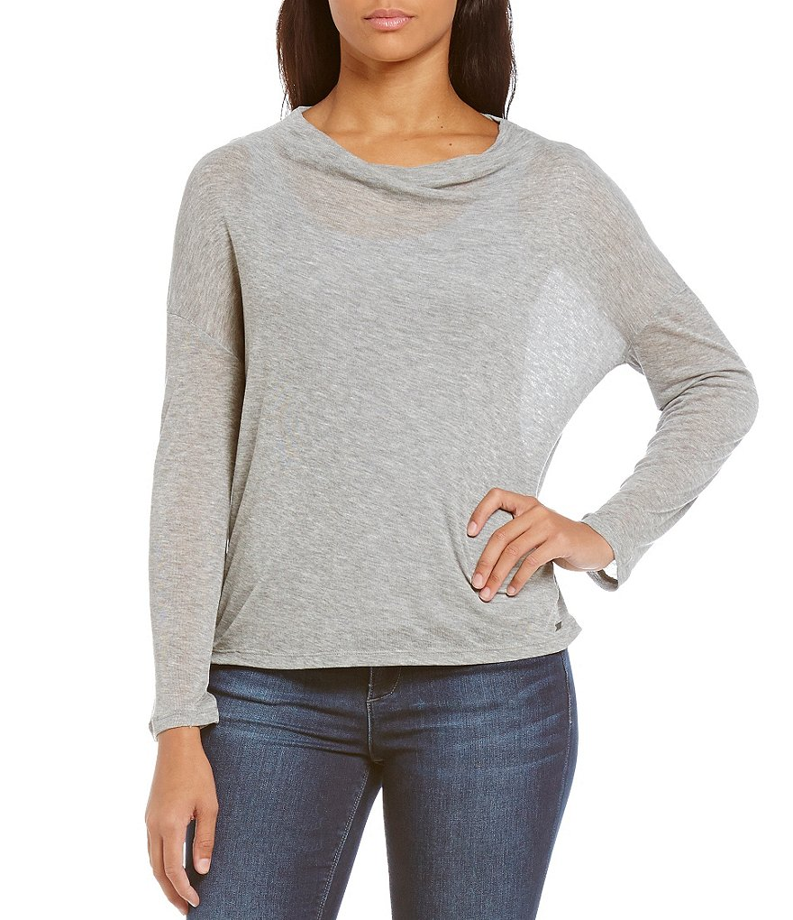 Armani Exchange Long Sleeve Mock Neck Solid Top