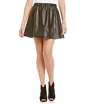 Armani Exchange Eco Perforated Faux-Leather Skirt