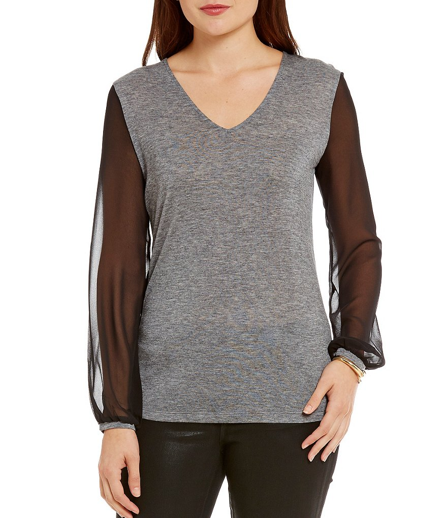 Armani Exchange Sheer Sleeve Top