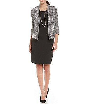 Kasper Long Sleeve Open Front Printed Jacket & Empire Sheath Dress