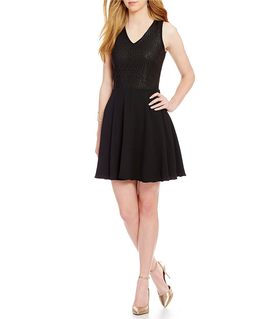 Armani Exchange Sleeveless Coated Lace Fit-And-Flare Dress