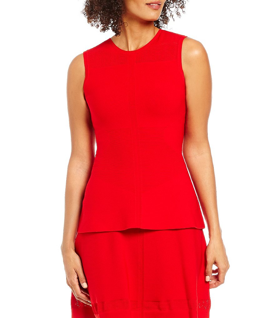 Armani Exchange Woven Sleeveless Peplum Top
