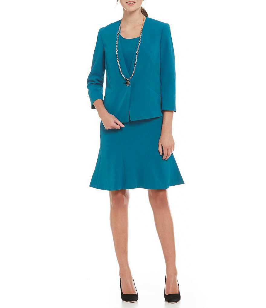 Kasper Petite One Button Stretch Crepe Collarless Jacket & Crepe Fit-And-Flare Dress