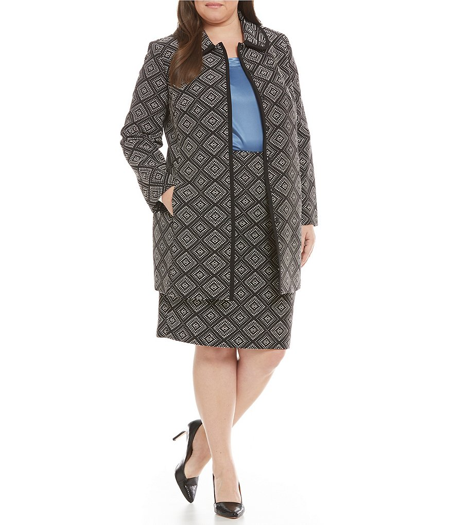Kasper Plus Geometric Jacquard Topper Jacket & Jacquard Straight Skirt