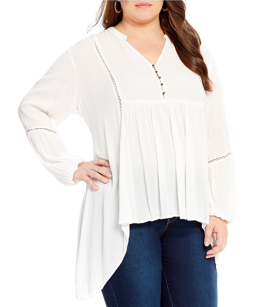 Chelsea & Theodore Plus Long Bell Sleeve Tunic