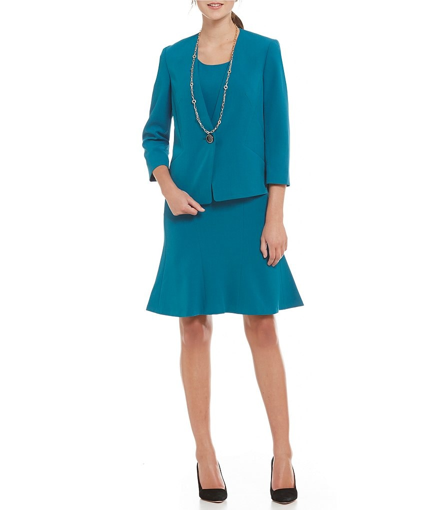 Kasper Stretch Crepe Embellished Flyaway Jacket & Stretch Crepe Fit-and-Flare Dress