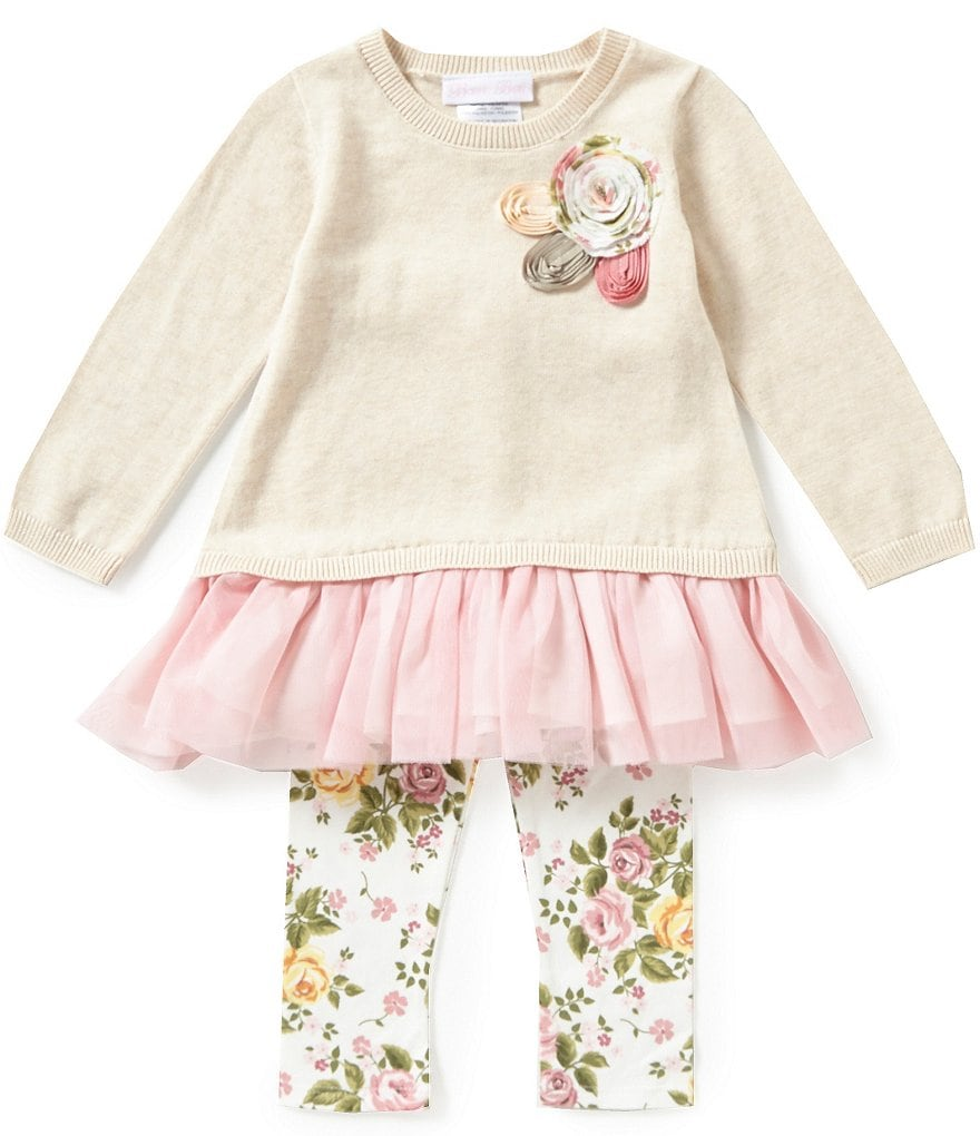 Bonnie Baby Girls Newborn-24 Months Drop Waist Dress & Floral Leggings Set