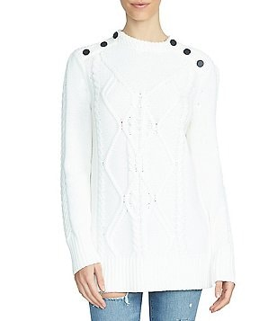 1. STATE Button Shoulder Sweater
