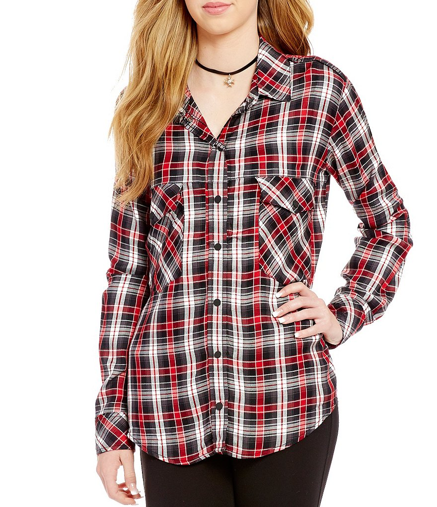 Sanctuary Point Collar Roll-Tab Sleeve Plaid Boyfriend Shirt