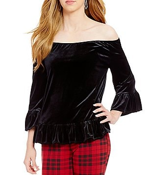 Sanctuary Julia Off-The-Shoulder 3/4 Sleeve Velvet Top