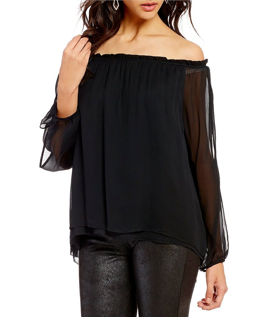 Sanctuary Chantel Off-The-Shoulder Long Cut-Out Sleeve Top