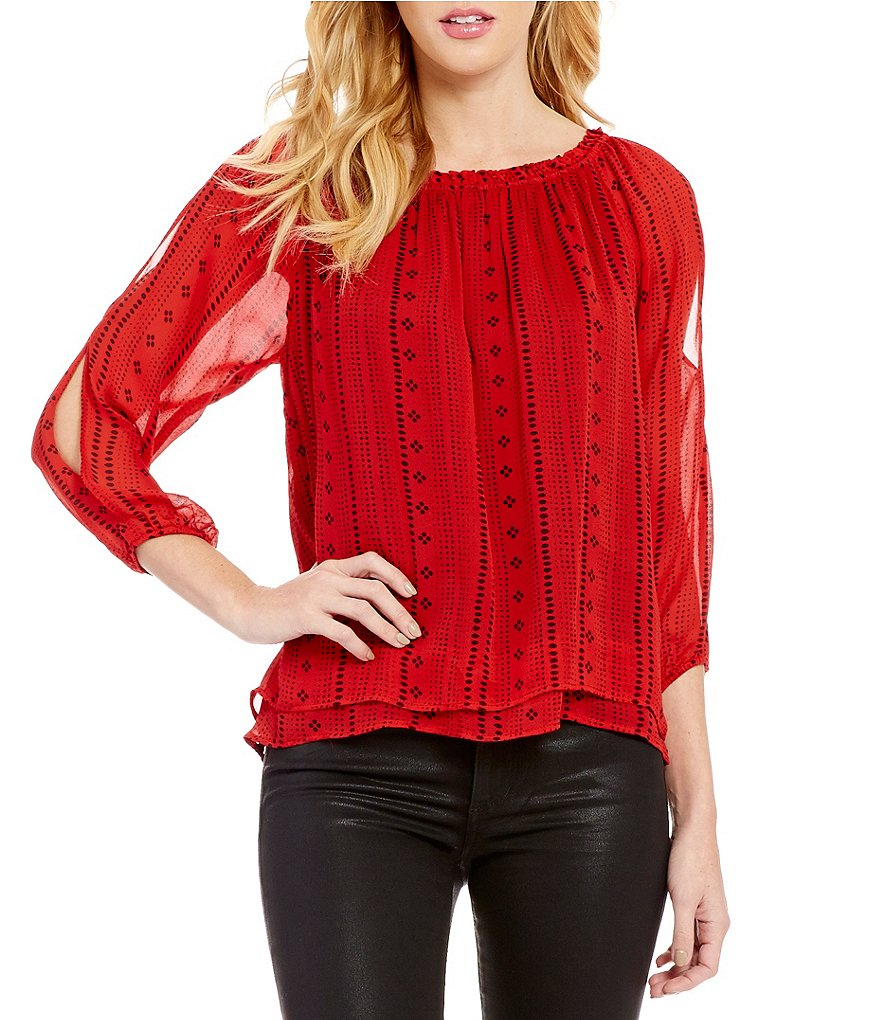 Sanctuary Chantel Off-The-Shoulder 3/4 Sleeve Solid Boho Top