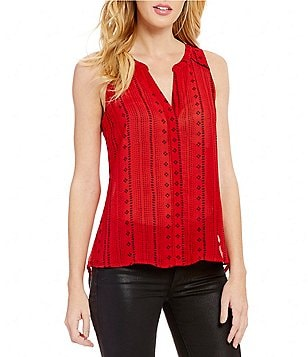 Sanctuary Holiday Craft V-Neck Sleeveless Button Front Solid Top