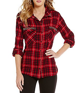 Sanctuary Studded Boyfriend Plaid Shirt
