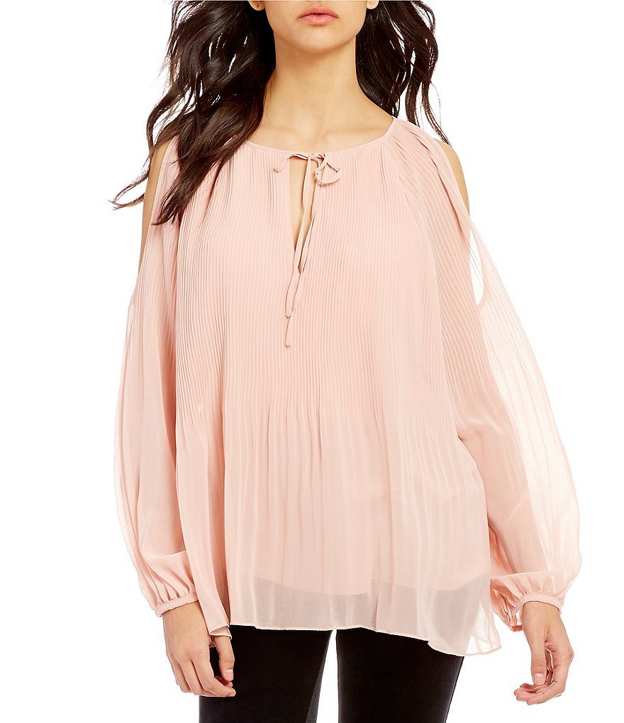 Sanctuary Sophie Pleated Keyhole Neck Cold-Shoulder Top