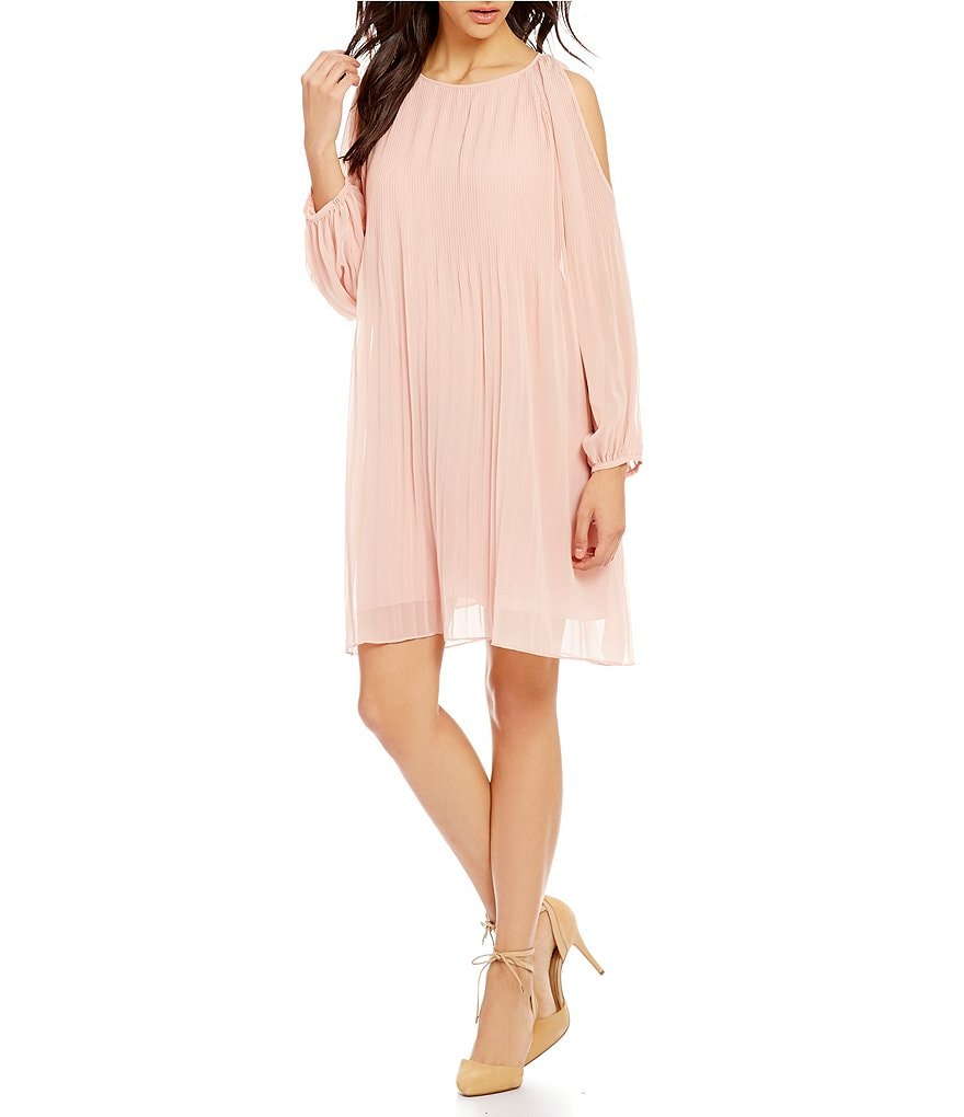 Sanctuary Sophia Pleated Cold-Shoulder Dress