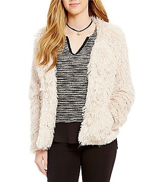 Sanctuary Crew Neck Snap Front Faux-Fur Stella Jacket