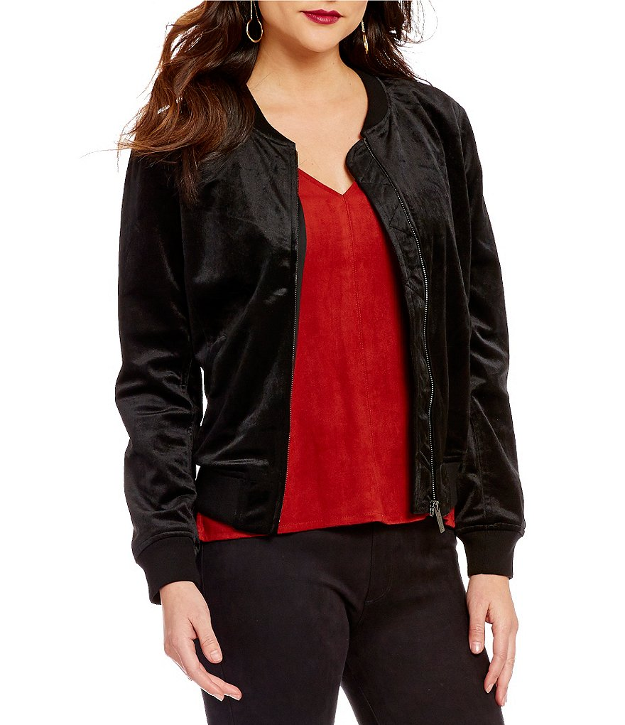 Sanctuary Ribbed Crew Neck Zip Front Velvet Bomber Jacket