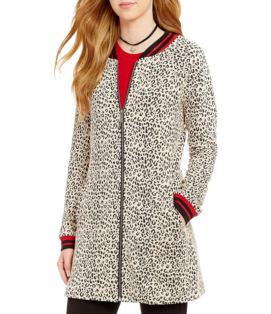 Sanctuary Ribbed Collar Zip Front Leopard Print City Coat