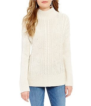 Sanctuary The Wonderer Cable Knit Mock Neck Sweater
