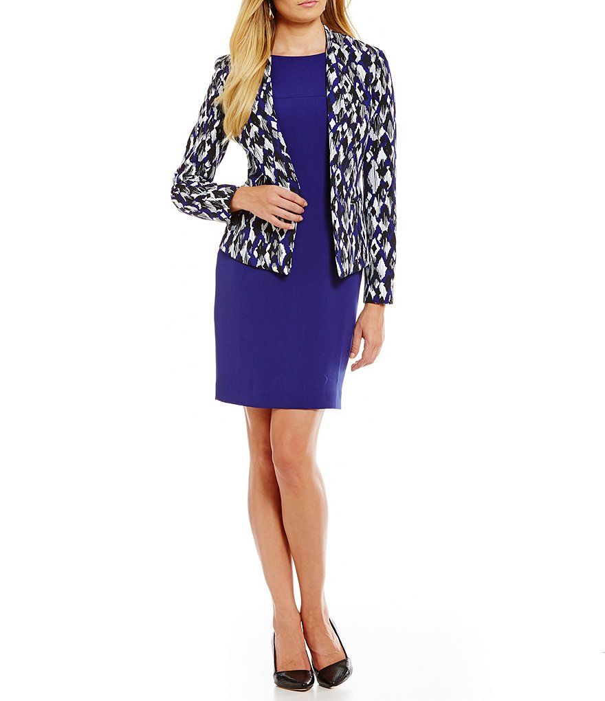 Kasper Petite Printed Crepe Jacket & Stretch Crepe Sheath Dress