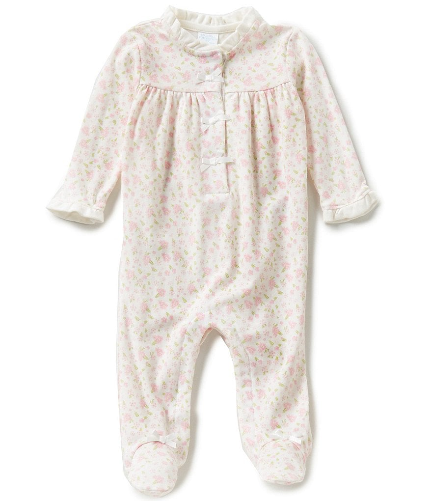 Edgehill Collection Baby Girls Newborn-6 Months Satin Bow Detailed Footed Coverall